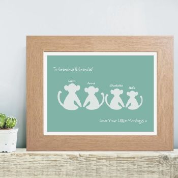 Monkey Family Personalised Print - Cute Gift For Grandparents From Their Grandchildren